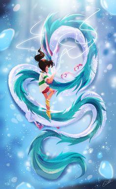 """""""紅白川- The Kohaku River"""" Here's a little spirited away piece I did. Honestly I loved this film since I was a little girl and well it's never too late to do a tribute piece On another note, I've changed the links to my portfolio website to Studio Ghibli Art, Studio Ghibli Movies, Anime Kunst, Anime Art, Fantasy Kunst, Fantasy Art, Spirited Away Art, Spirited Away Dragon, Chihiro Y Haku"""