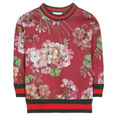Gucci+-+Printed+sweater+-+Gucci+opts+for+fresh+florals+doused+in+feminine+romanticism+with+this+dreamy+sweater.+Cotton+trims+in+the+brand's+signature+red+and+green+stripes+adds+instant+recognition,+while+the+structured+body+provides+a+sports-inspired+shape.+Team+yours+with+second-skin+denim+for+a+relaxed+downtime+vibe,+or+dress+it+up+with+a+pleated+maxi+skirt.+seen+@+www.mytheresa.com