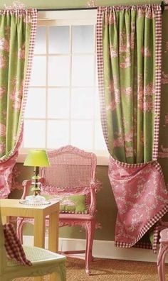 Customize store bought drapes with additional fabric. Buy a little extra, and you can make a few matching throw pillows.- I like the pink and green, the chair is also nice, too bad the cats would destroy the wicker Shabby Chic, Custom Window Treatments, Custom Windows, Window Dressings, Drapes Curtains, Valances, Cafe Curtains, Drapery Panels, Bathroom Curtains