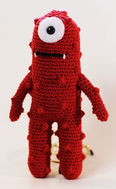 Made to Order-Cute Red Monster Crochet Toy via Etsy.