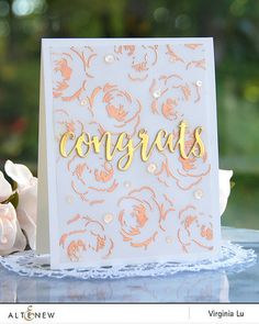 Altenew Winter Rose Congrats card by Virginia Lu - using Altenew's Rose Gold EP