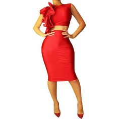 Sale Crop Top & Skirt Sexy crop top with ruffles on one side, knee length skirt.  White size medium. Dresses Midi