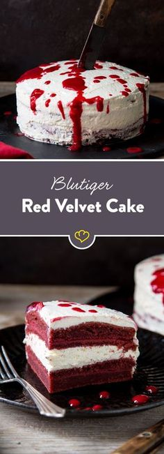 Mordslecker! Ganz sicher - als Tatort kommt nur diese leckere Torte mit roten Böden, cremigem Frischkäse-Frosting und süßer Himbeersauce in Frage.