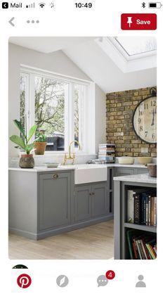 Exposed brick kitchen brick wall kitchen ideas the best exposed brick k Brick Wall Kitchen, Grey Kitchen Cabinets, Kitchen Cabinet Design, Kitchen Flooring, Kitchen Countertops, Base Cabinets, Grey Cupboards, Kitchen Wood, Grey Kitchen Walls
