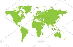 World map flat green by TeaGraphicDesign on @creativemarket