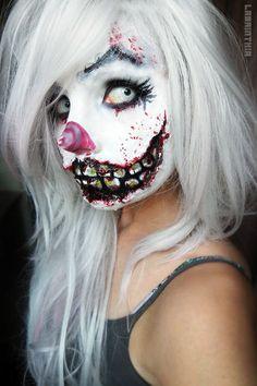 Creepy Clown Girl by labrinthia.devian on Creepy Clown Girl by labrinthia. Gruseliger Clown, Scary Clown Makeup, Halloween Makeup Looks, Scary Clown Costume, Weihnachten Make-up, Maquillaje Halloween Tutorial, Makeup Fx, Makeup Ideas, Horror Make-up