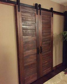Bedroom walk-in closet doors! Love the 5 panel doors with Rustica's barn door slider hardware! Very happy! -Connie Fauver