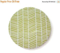 SALE -- Mouse Pad mousepad / Mat - Round or rectangle -  herringbone chevron grass green coworker gift home office decor