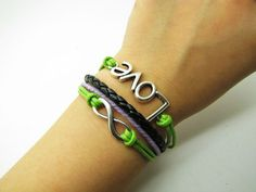 Green Rope and Black Leather Steampunk Bracelet by sevenvsxiao, $6.59