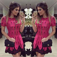 Lace Dress vestido de renda SHort Regular O-Neck Lace Dress Fit and Flare  Plus Size Woman Clothes Cordiform