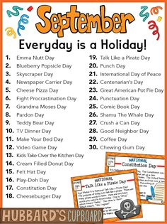 Holidays In September, September National Days, Daily National Holidays, National Celebration Days, Monthly Celebration, National Holiday Calendar, Senior Activities, Listening Activities, Silly Holidays