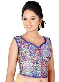 25dbf87d9d558d Salwar Studio Women's Royal Blue Color Brocade Readymade Self Design Saree  Blouse: Amazon.in
