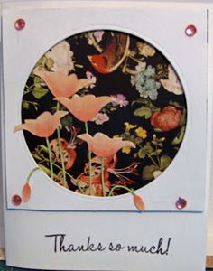 Card uses Memory Box poppy die cut, Graphic 45 Birdsong paper, and sentiment is from Sweet & Sassy stamps.
