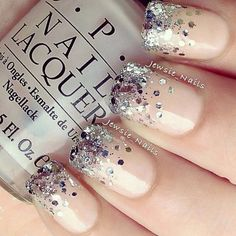 Image via  Glittery rainbow nail art   Image via  Cute glitter nail art design-All Sparkly And Gold   Image via  What's better than pink, glitter, and stripes? Try out a striped and spar Nail Design, Nail Art, Nail Salon, Irvine, Newport Beach