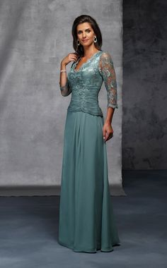 #mothers #gowns #dresses #weddings | 3/4 Sleeve Mother of the Bride Dresses - Lace bodice mother of the groom gowns with longer sleeves - We can produce this look for you in any color, size or with any changes. We are a custom evening wear company based near Dallas Texas that sells affordable mother of the bride gowns to women all over the globe