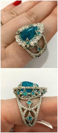 A wildly beautiful Paraiba tourmaline and diamond ring by Erica Courtney.