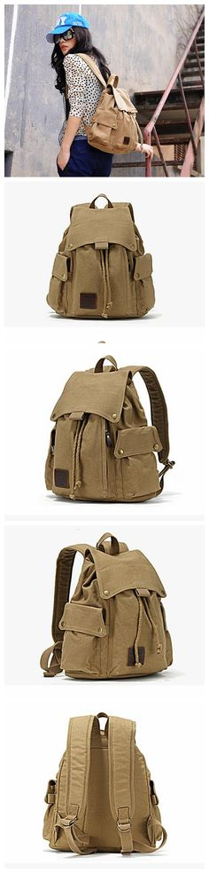 ROCKCOW Specially High Density Thick Canvas Backpack Rucksack