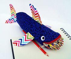 Shark Zipper Pouch - Fish Pencil Case - Fun Kids Valentine Gift - Toy Bag Kids Bag: Rainbow Reef Shark Bite. $39.00, via Etsy.