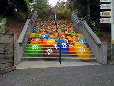 M&M's concrete stair graphic