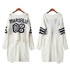 Femmes pull talonnage o - cou irrégulière mince laine vêtements évider à Long pull en tricot vêtements tricot blanc