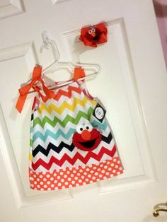 multi chevron and orange polka dot elmo pillowcase dress Embroidered Girls Toddler Birthday Dress personalized with name by EverleeBoutique on Etsy