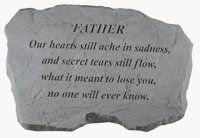 Kay Berry- Inc. 98720 Father-Our Hearts Still Ache In Sadness - Memorial - 16 Inches x 10.5 Inches x 1.5 Inches by Kay Berry, Inc.. $36.42. Design is stylish and innovative. Satisfaction Ensured.. Great Gift Idea.. Manufactured to the Highest Quality Available.. Create a special corner in your garden with this beautiful monument  made of rough cast stone   engraved with - Father-Our hearts still ache in sadness  and secret tears still flow  what it meant to lose you  no ...