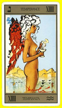 Temperance from Salvador Dali's Tarot deck first published in a limited art edition in Temperance Tarot Card, Salvador Dali Kunst, Tarot Card Meanings, Cartomancy, Major Arcana, Art For Art Sake, Oracle Cards, Tarot Decks, Archetypes