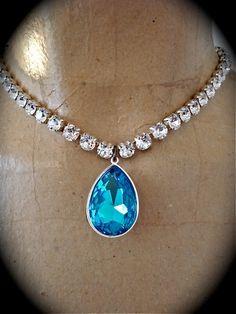 Aqua Rhinestone Pendant Necklace  bridesmaid by TheCrystalRose, $50.00
