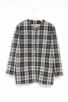 WARM WOOL BLACK WHITE PLAID BLAZER COAT via collection Nº2. Click on the image to see more!