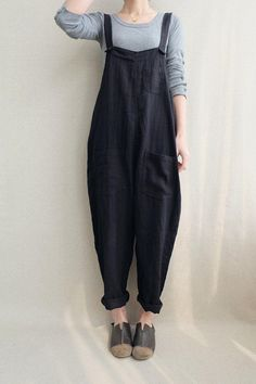 Women Casual Linen Jumpsuits Overalls Pants With Pockets Vintage Linen Harem Pan ., Women Casual Linen Jumpsuits Overalls Pants With Pockets Vintage Linen Harem Pants # fashiondesign Jumpsuit Outfit, Casual Jumpsuit, Summer Jumpsuit, Jeans Jumpsuit, Harem Pants Outfit, Women's Pants, Harem Trousers, Summer Shorts, Casual Pants