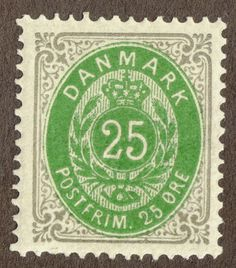 DENMARK #32a  1875 25ore Gray & Green Unused LH OG
