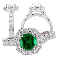 18k cultured 6mm cushion cut emerald engagement ring with natural diamond halo