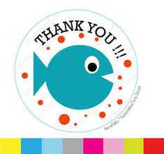 Fish StickersThank you stickers Baby Fish stickers  Under the sea party Favor Stickers Thank You Labels or Envelope Seals  A935 by Mariapalito