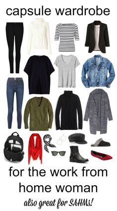 capsule wardrobe for the work from home woman and SAHMs with sample outfits, accessorizing tips, plus size options and more by Wardrobe Oxygen