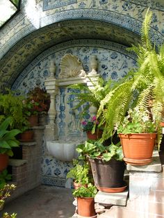 { love the enclosed look , tile on ceiling and even top molding area } Tiled greenhouse in the garden of Casa Museu Bissaya Barreto in Coimbra, Portugal. Flora Garden, Garden Art, Home And Garden, Outdoor Tiles, Outdoor Rooms, Outdoor Decor, Old Brick Wall, Courtyard Design, Backyard Greenhouse