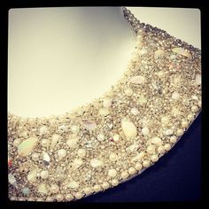 """Beaded collar detail on a 1960s cocktail dress in """"Dressed by the Best: Fashion, Glamour & Gwen Gillam"""". At Queensland Museum until 24 February."""