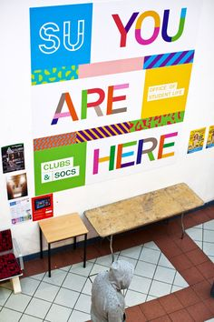 Love the super-scaled #wayfinding #graphics at this student center.