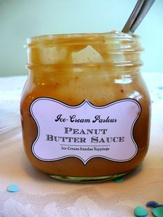 home made Peanut butter topping for ice cream, bananas, hot chocolate, cookies, pie, cake...