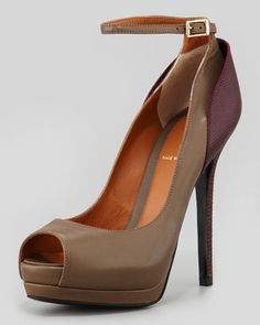 Layered Ankle-Strap Platform Pump, Taupe/W at Neiman Marcus.