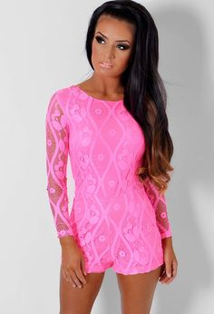 Rosah Neon Pink Lace Overlay Playsuit | Pink Boutique