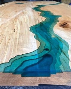 Live Edge Epoxy River Spalted Maple Dining Table with Juniper Root Table Base Topographic
