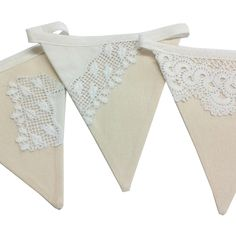 Vintage doily and lace wedding bunting - available to buy now on Exhibit Cornwall; the online showcase for the finest art, craft and creative talent that Cornwall has to offer.