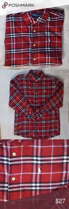Men's Ralph Lauren flannel shirt Awesome red and black plaid flannel button down from Ralph Lauren.  Shirt is like new. Excellent condition. Ralph Lauren Shirts Casual Button Down Shirts