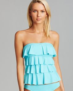 MICHAEL Michael Kors Cascading Ruffle Tankini Top | Bloomingdale's this is really pretty but I don't think I would be comfortable wearing strapless with a bathing suit