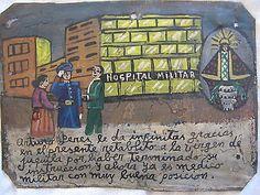 Mexican EXVOTO EX VOTO RETABLO The military doctor graduate