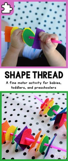 Shape Thread [Ages +] A fine motor, color, and shape learning activity for babies, toddlers, and preschoolers Learning Shapes for Toddlers Color Activities For Toddlers, Toddler Fine Motor Activities, Shapes For Toddlers, Nursery Activities, Motor Skills Activities, Infant Activities, Preschool Activities, Maths For Toddlers, Activities For 2 Year Olds At Nursery