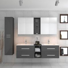 Buy Sonix Grey Bathroom Suite 2 Units 2 Mirrors And Storage Bathroom Basin Units, Basin Vanity Unit, Double Sink Bathroom, Large Bathrooms, Grey Bathrooms, Bathroom Vanities, Master Bathroom, Bathroom Layout, Modern Bathroom Design
