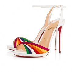 bf15885b0fa Superposing slender strips of multicolored satin in a flawlessly stitched  cross-over pattern at the toe strap