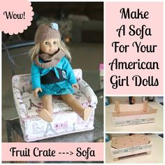doll furniture Make An American Girl Sofa {Upcycling} *This post may contain affiliate links* The Stuff Dreams Are Made Of Since the girl got knee-deep into the American Girl craze, wev American Girl Furniture, Girls Furniture, Doll Furniture, American Girl House, American Girl Crafts, American Dolls, Girl Doll Clothes, Doll Clothes Patterns, Barbie Clothes