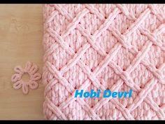 DIY,Easy Baby Blanket with Finger,Diamond Knitting,Alize Puffy Baklava Desenli Bebek Battaniyesi - Sewing Projects & Ideas 2020 Diy Yarn Blankets, Finger Knitting Blankets, Hand Knit Blanket, Easy Baby Blanket, Knitted Baby Blankets, Baby Blanket Crochet, Baby Knitting, Crochet Baby, Baby Sewing Projects